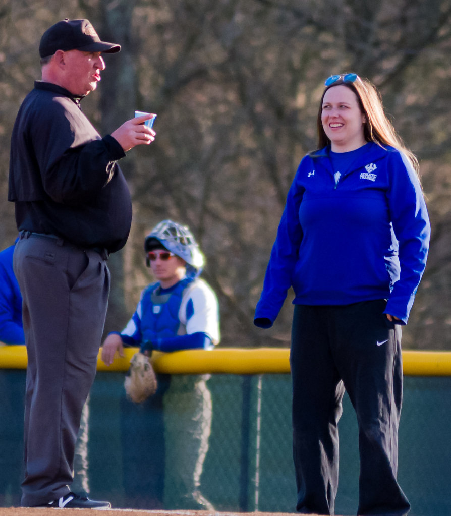 Katie Shank Keeps the Umpire Hydrated